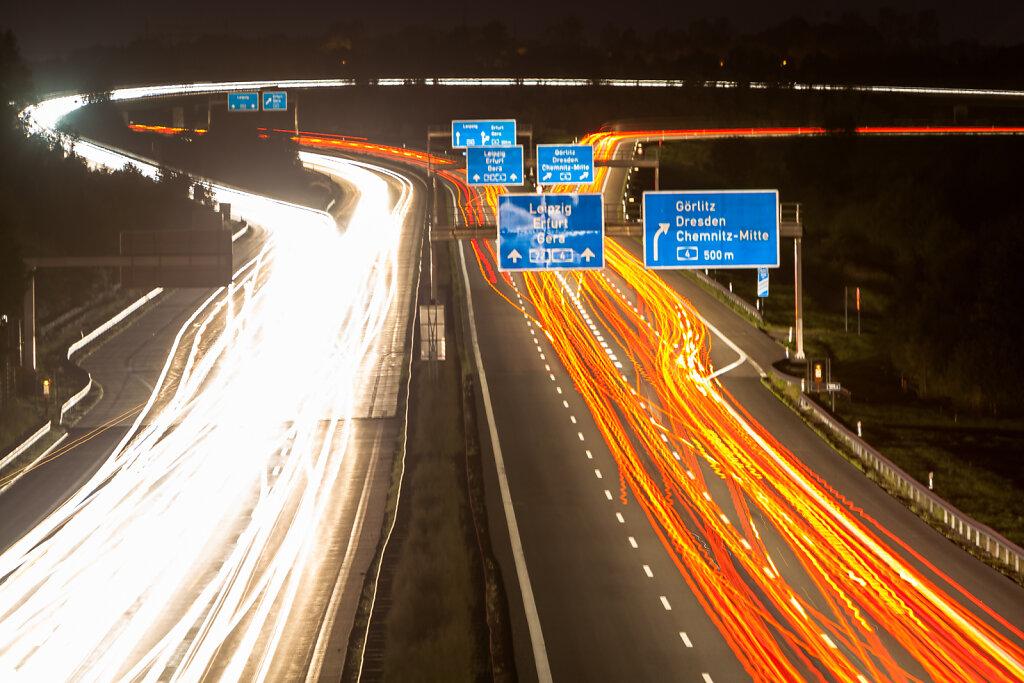 Blick auf das Autobahnkreuz Chemnitz