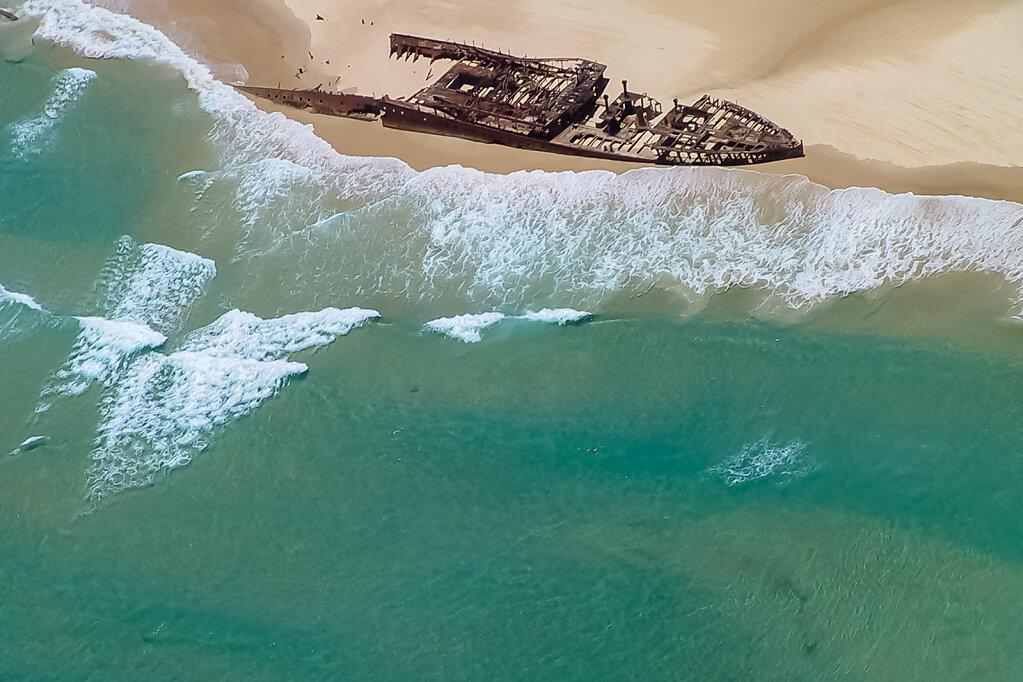 Schiffsfrack der Maheno am Strand von Fraser Island